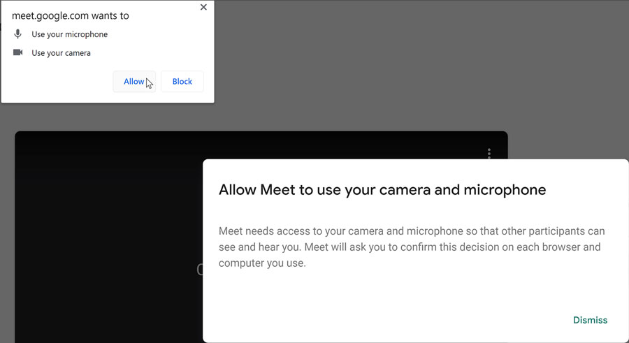 allowing access to microphone, camera, and notifications