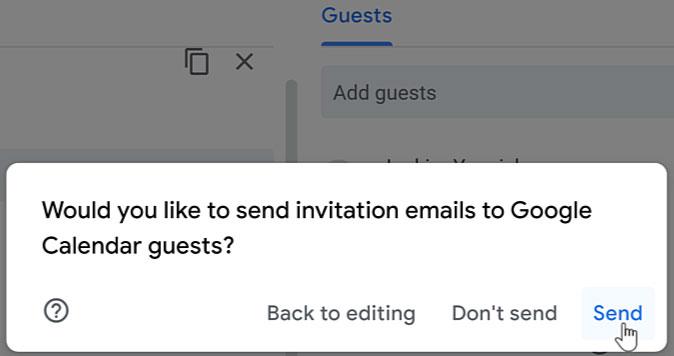 clicking Send