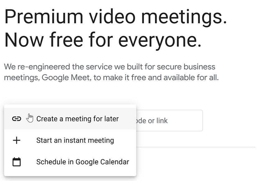 clicking Create a meeting for later