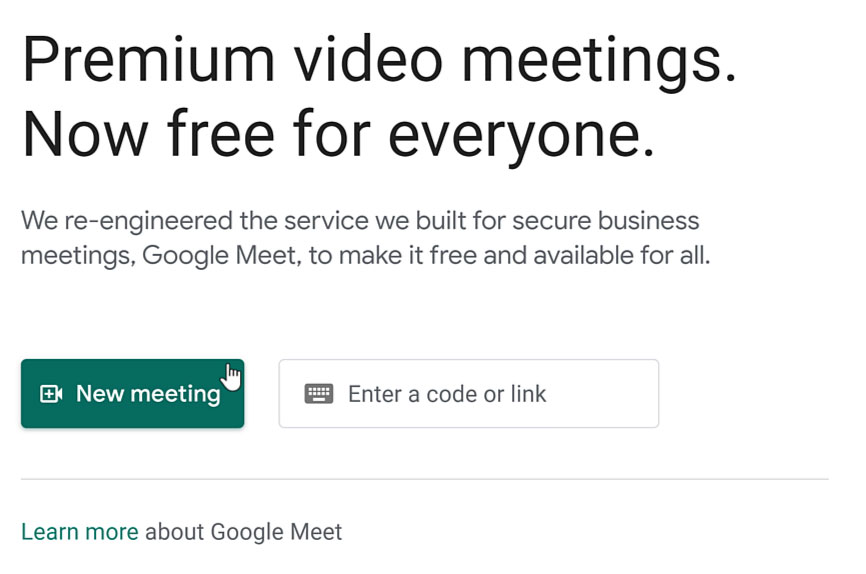 clicking the New meeting button