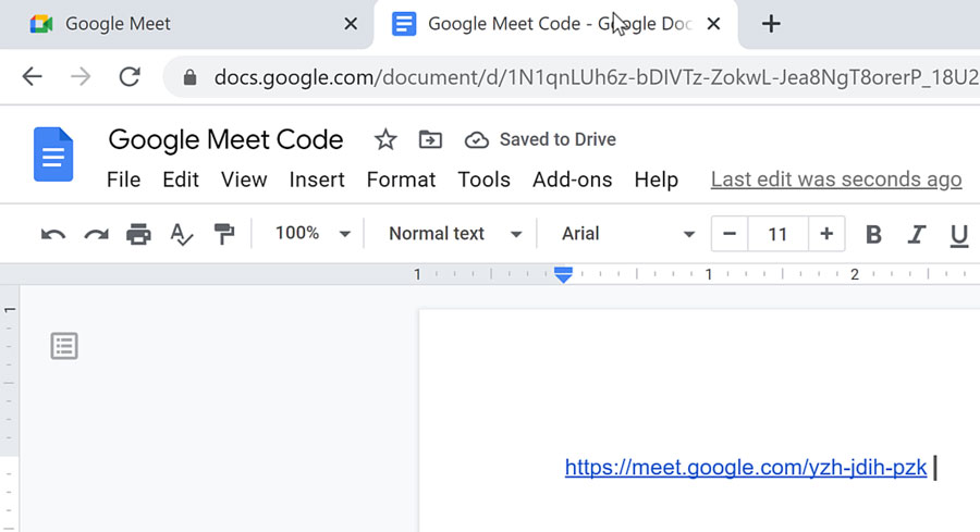 pasting link into a Google Doc