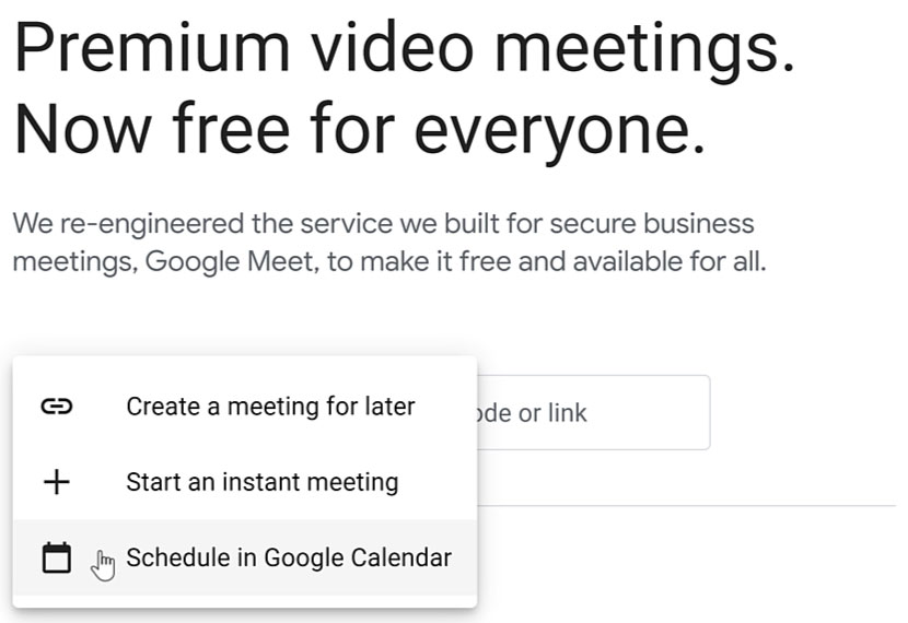 clicking Schedule in Google Calendar