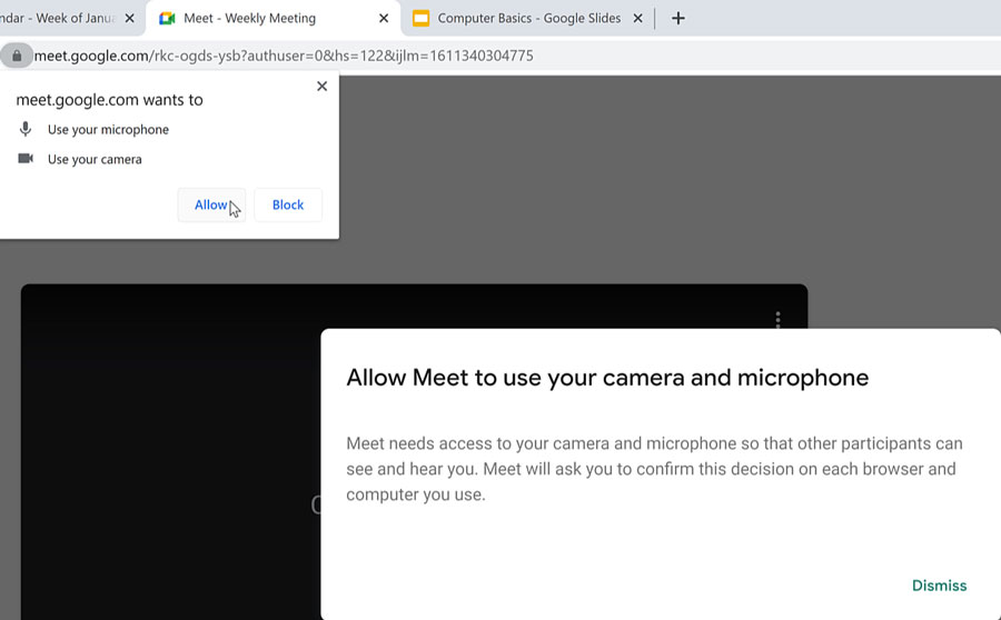 allow microphone, camera, and notifications