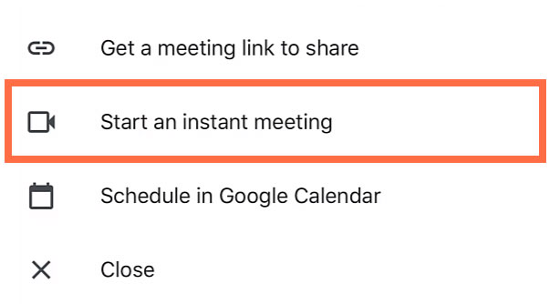 tapping Start an instant meeting
