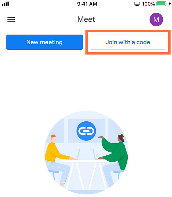 Join with a code button
