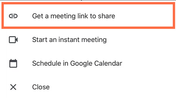 tapping Get a meeting link to share