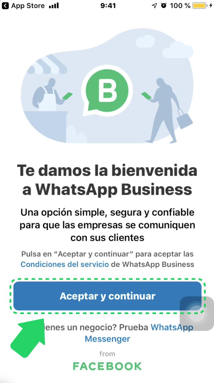 Cómo crear una cuenta de WhatsApp Business en iOS.
