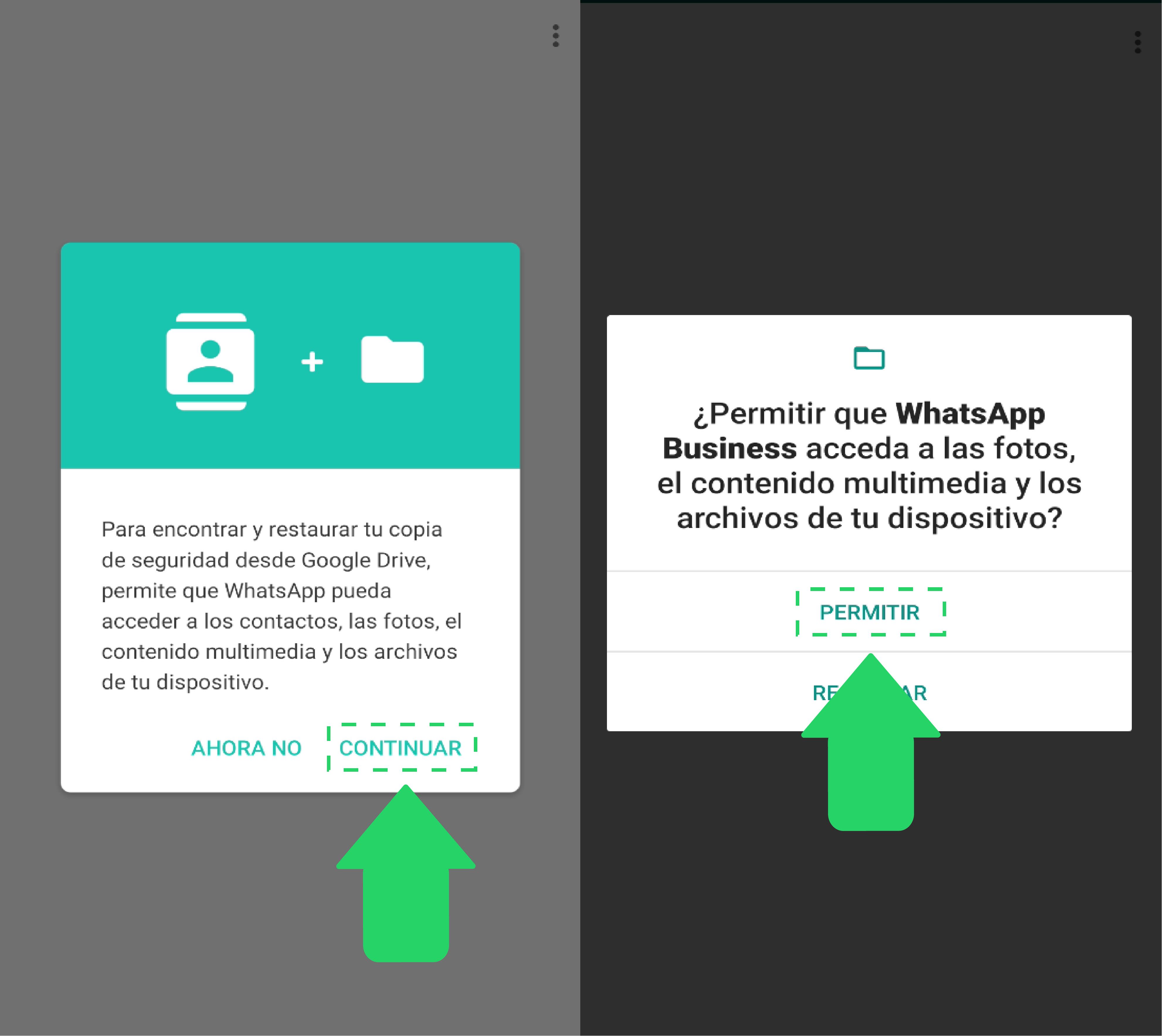Una vez añadas tu número, deberás aceptar algunos permisos para que la aplicación pueda transferir tus archivos multimedia, historial del chat y acceder a la información de tu dispositivo, entre otros.