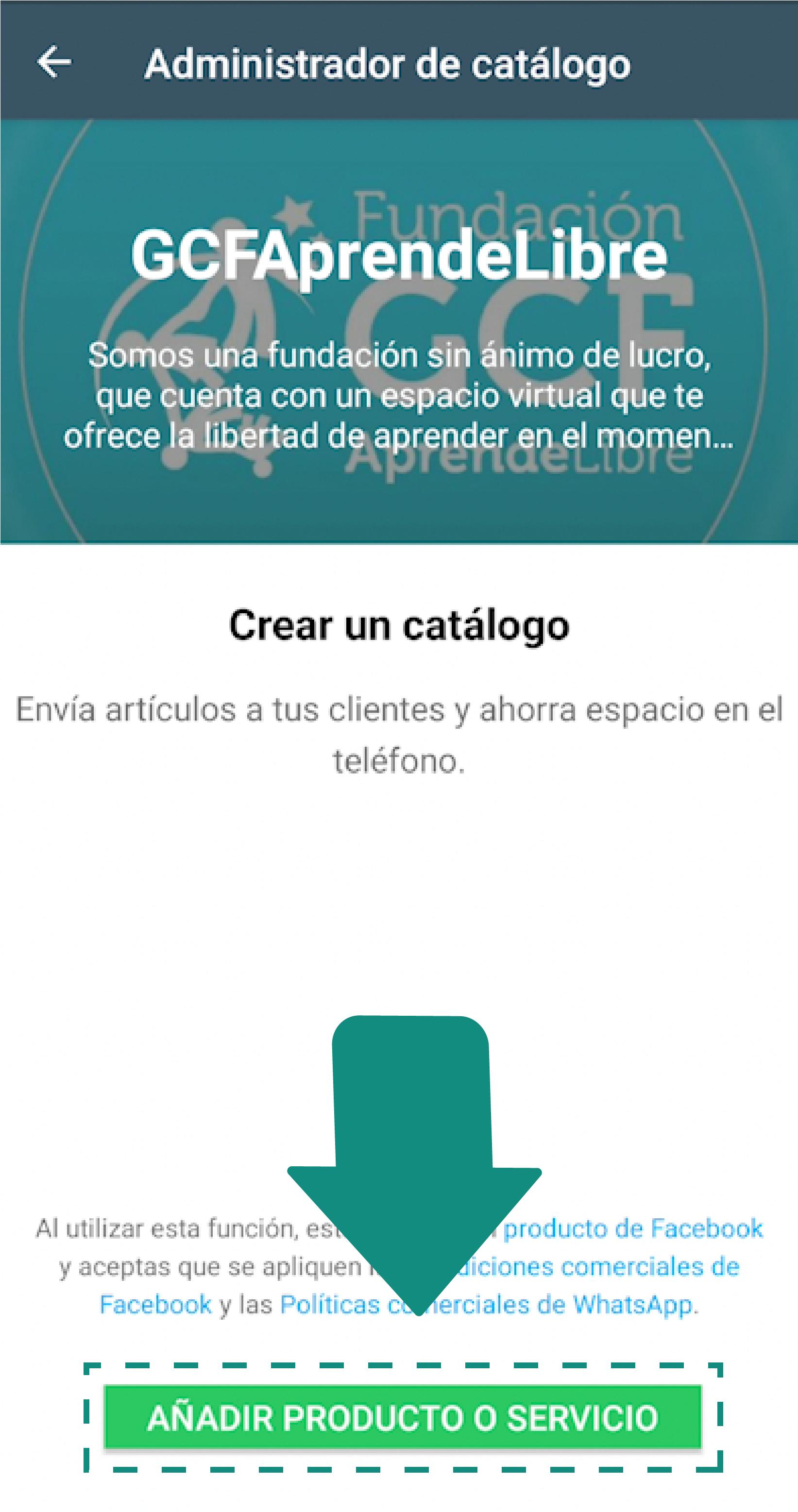 Paso 4:  Allí, selecciona Catálogo.  Si no te aparece esta opción, verifica que tienes descargada la última versión de la aplicación.