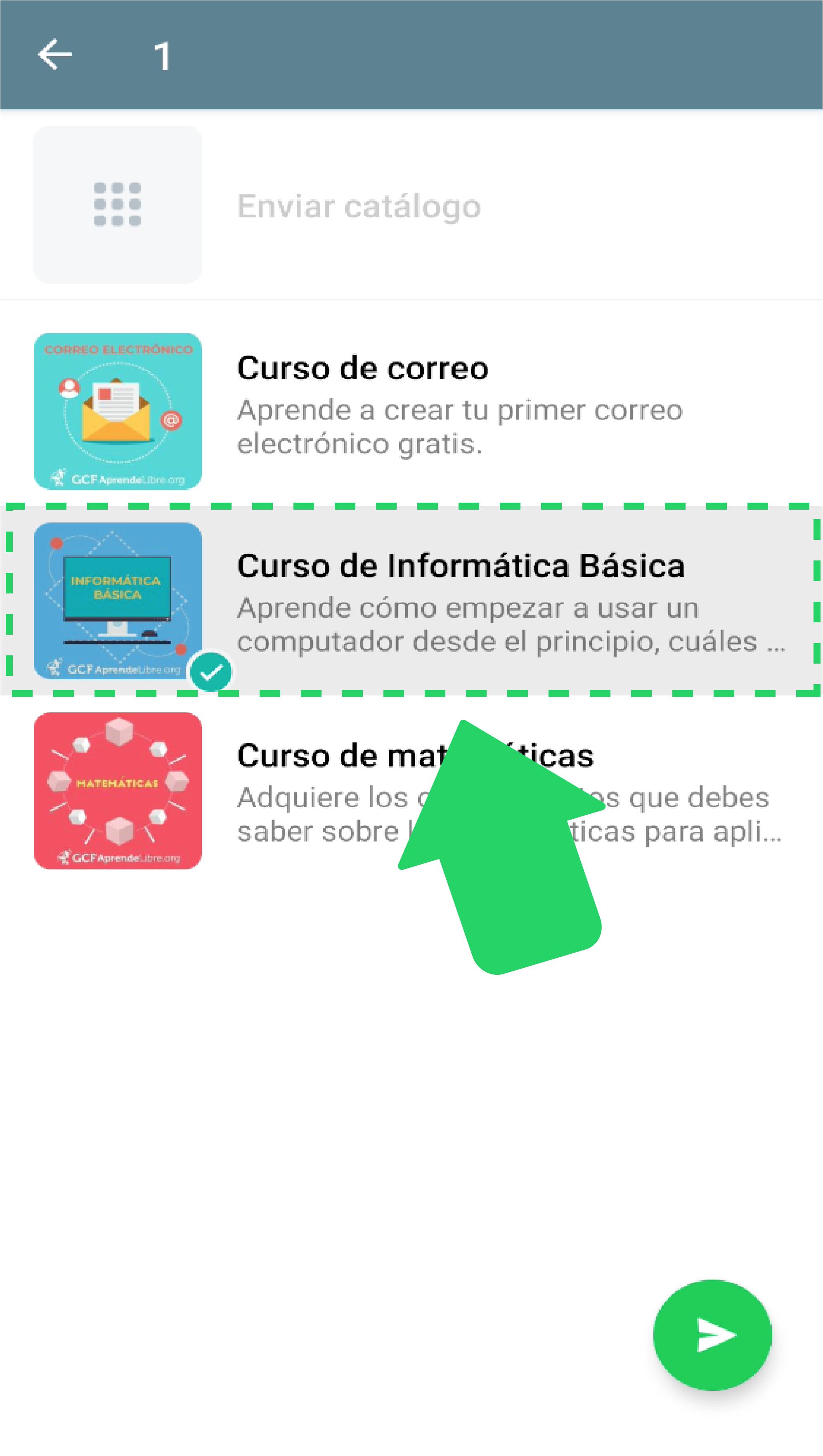 Paso 4:  Elige el producto o servicio que quieres compartir y envíalo oprimiendo el botón verde con un ícono de avión.  También puedes enviar el catálogo por completo si lo tienes disponible.
