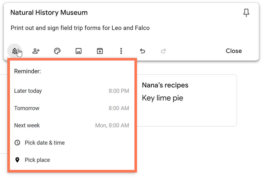 bell plus icon to create a reminder