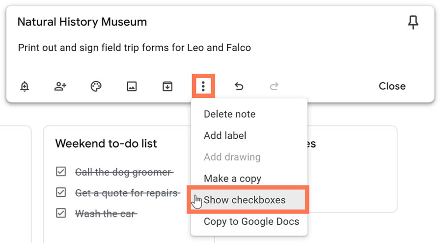 more icon and show checkboxes to create a checklist