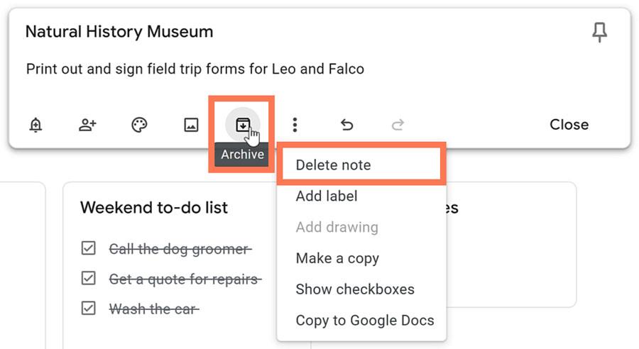 archive or delete note