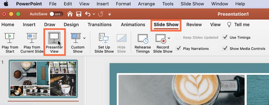 Slide Show Tab then Presenter View