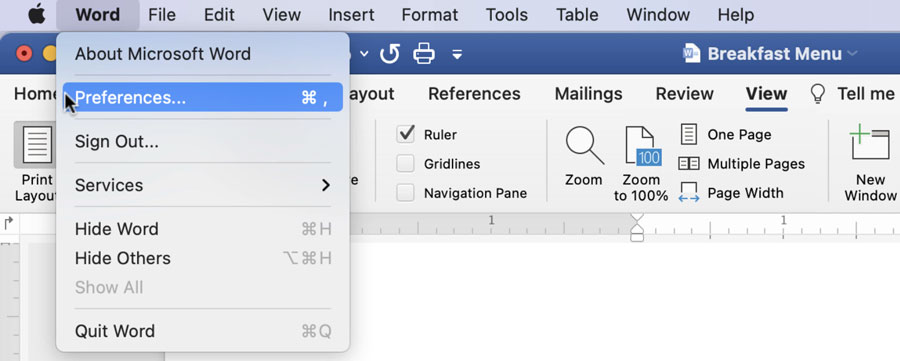 selecting Preferences from the Word menu