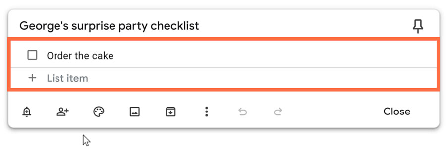 typing the note as a checklist