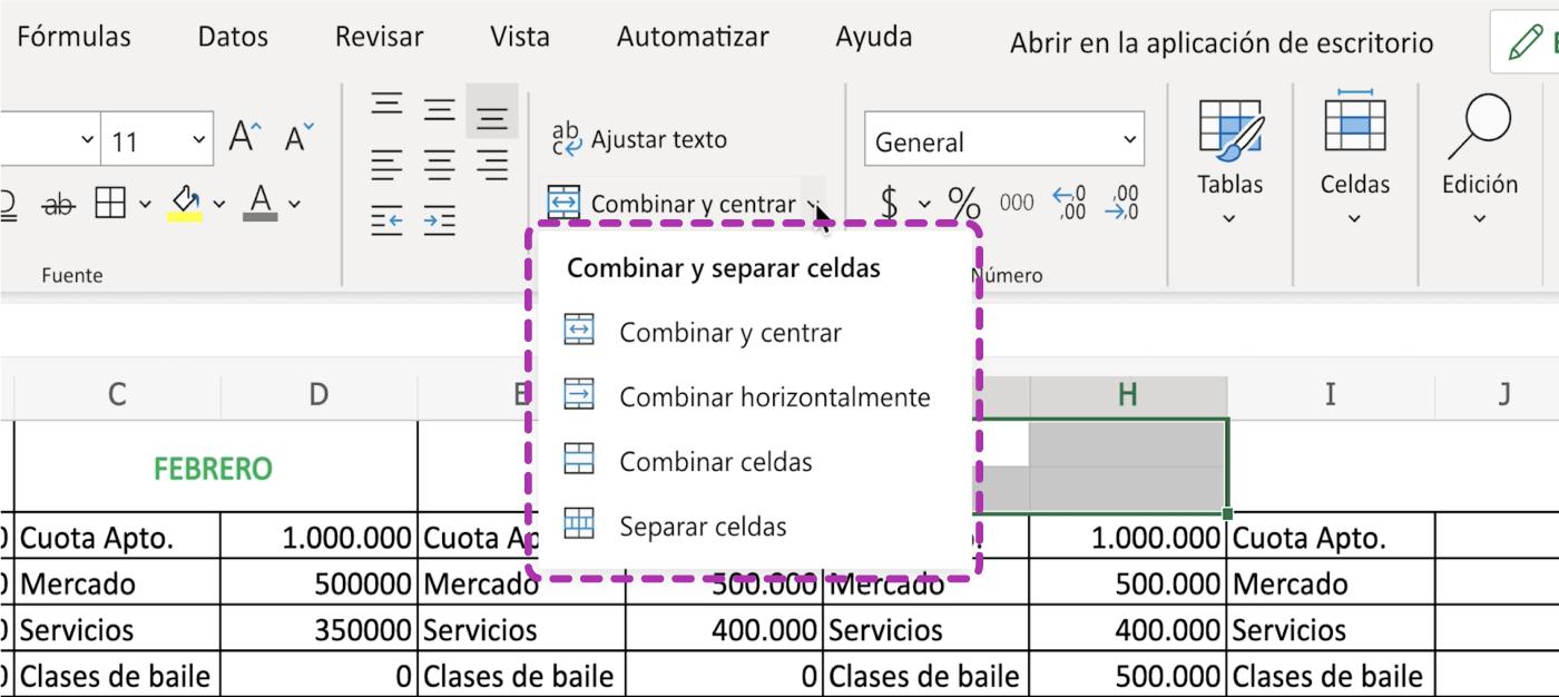 Así se combinan las celdas en Excel 365