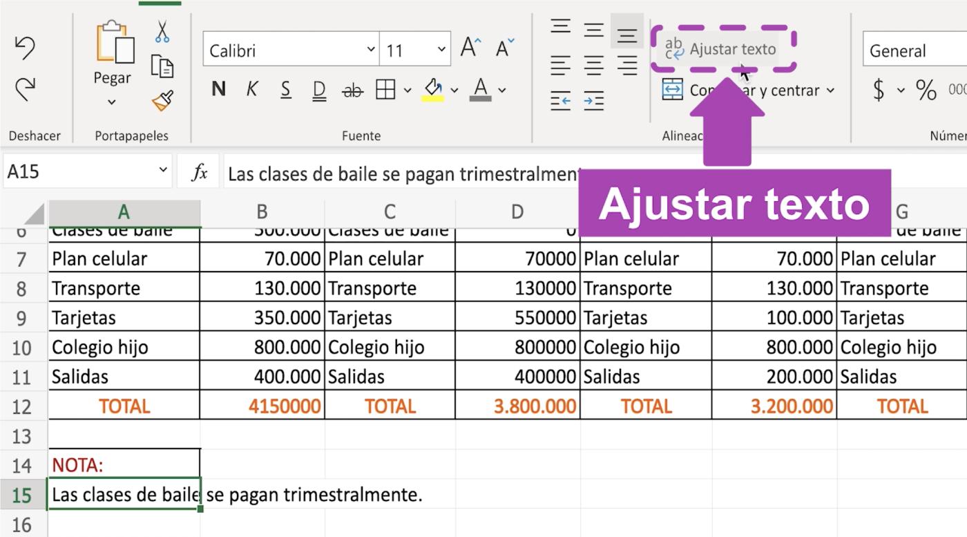 Ajustar textos en Excel 365