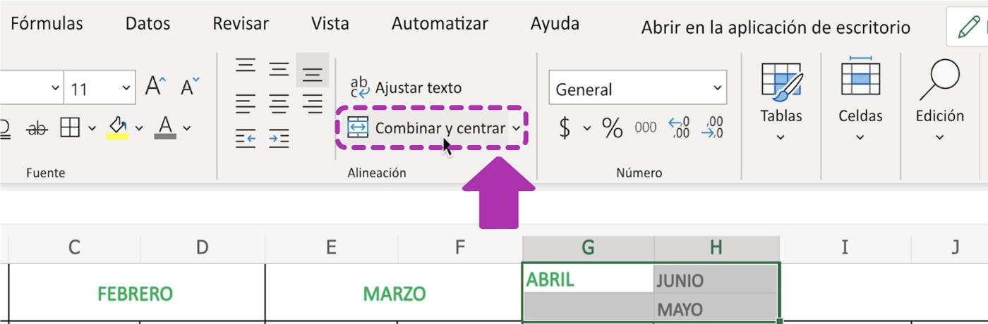 Combinar celdas en Excel 365