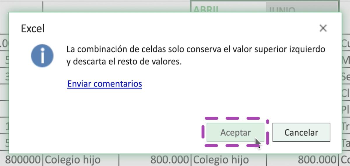Cómo separar las celdas en Excel 365