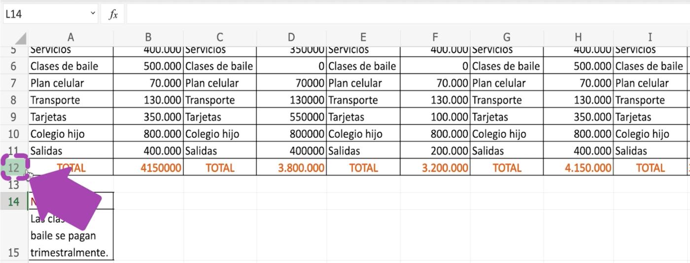 Cómo agregar filas en Excel 365