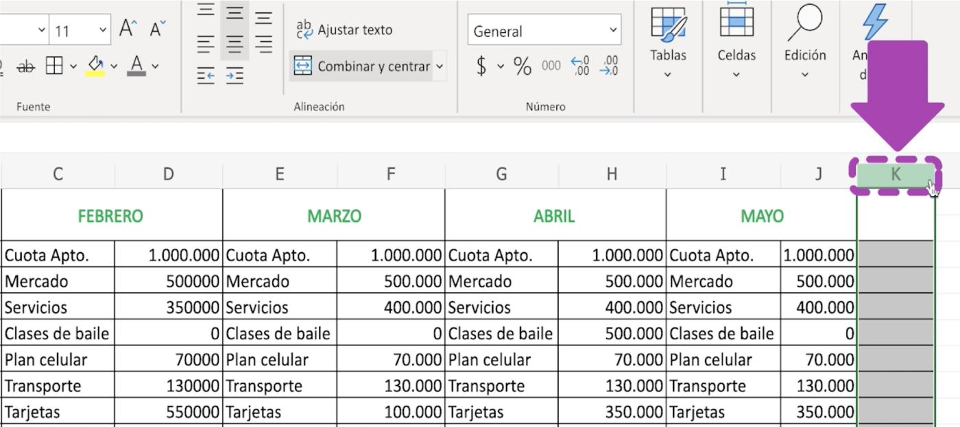 Cómo añadir columnas en Excel 365