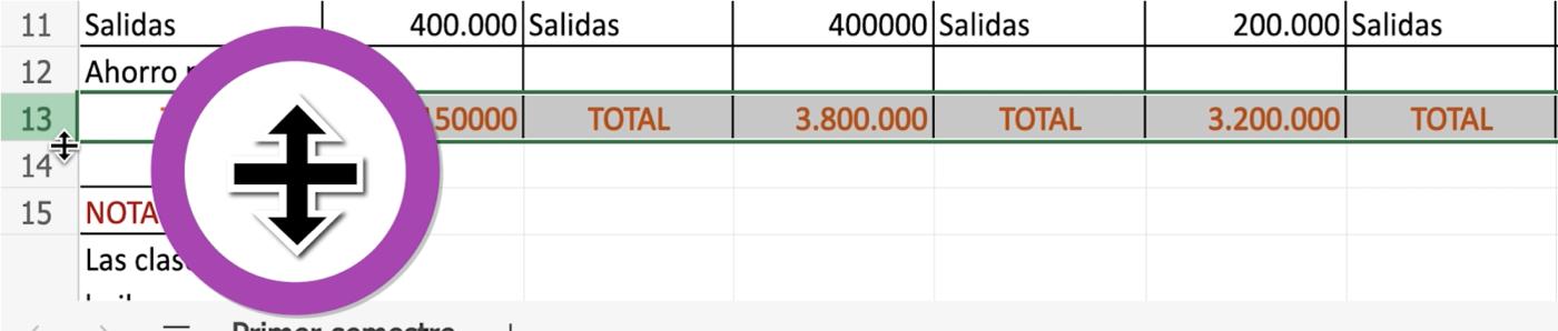 Cómo cambiar el alto de las filas en Excel 365