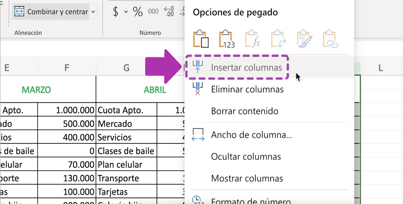 Cómo insertar columnas en Excel 365