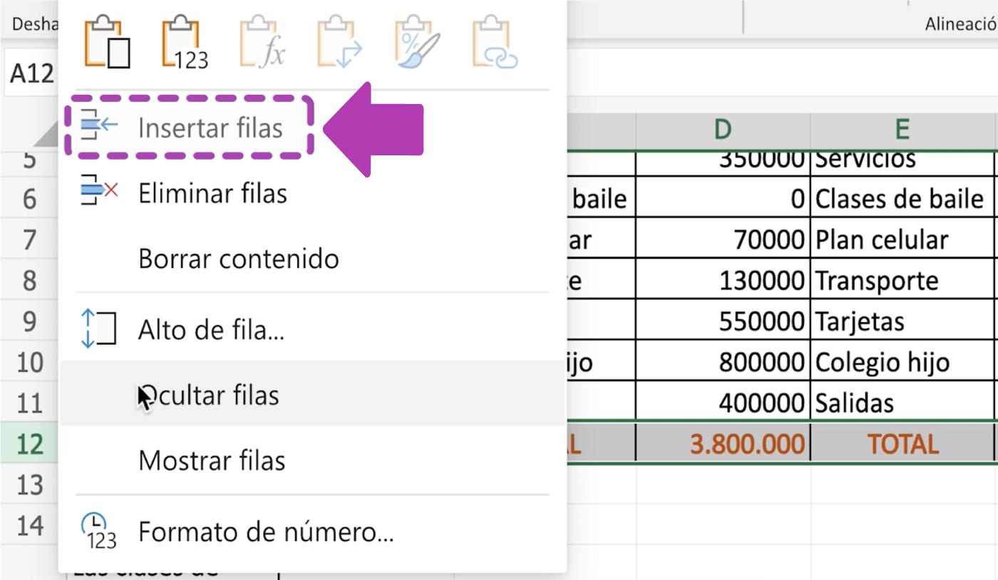 Cómo insertar filas en Excel 365