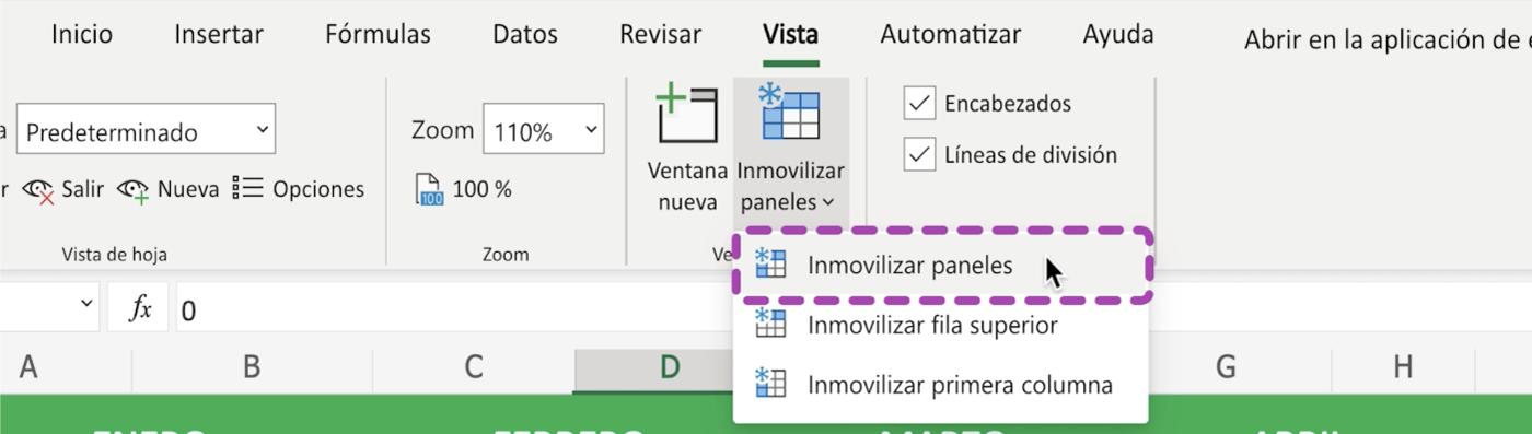 Cómo bloquear filas y columnas en Excel 365