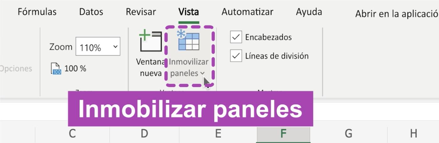 Inmovilizar filas y columnas en Excel 365