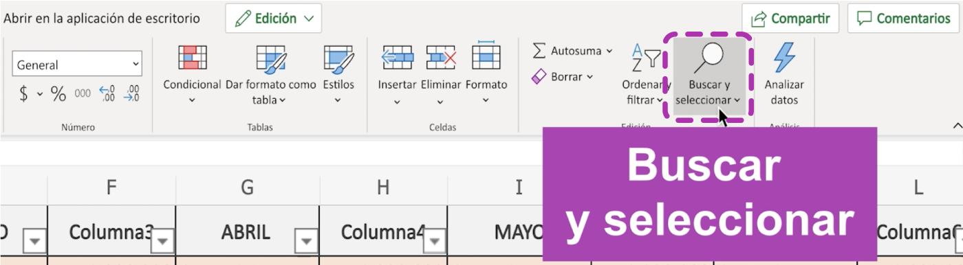 Buscar datos en Excel 365