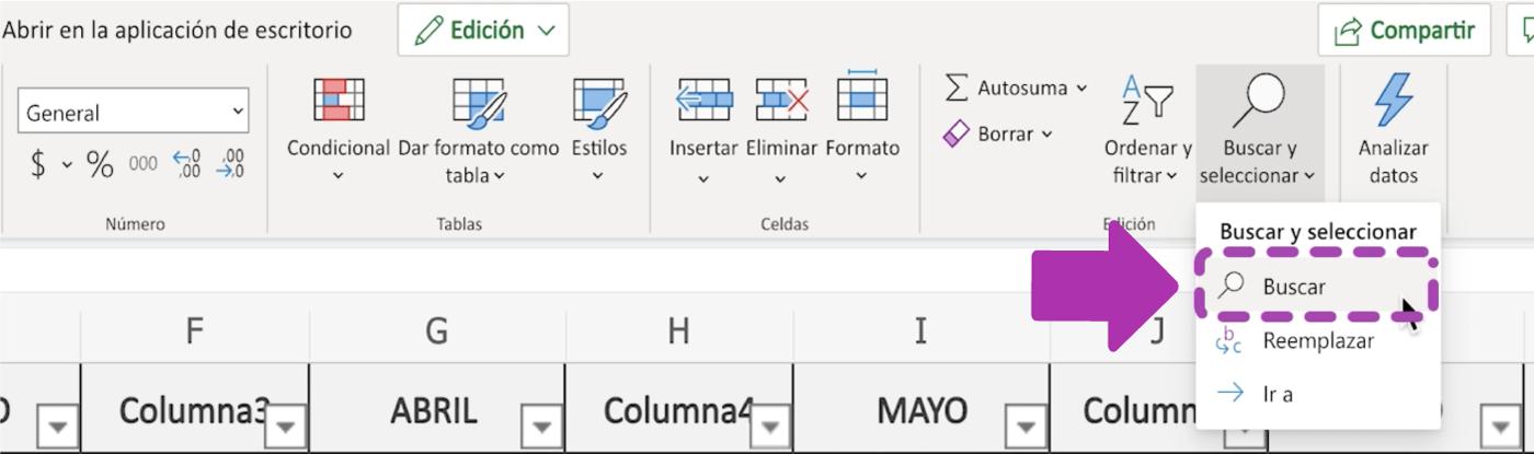 Cómo buscar datos en Excel 365