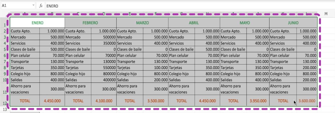 Cómo añadir una tabla en Excel 365