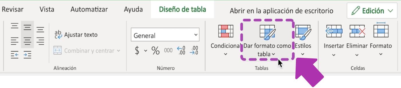 Cómo darle formato a las tablas en Excel 365