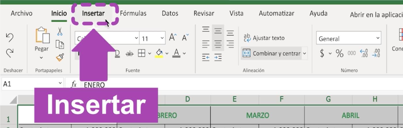 Cómo insertar una tabla en Excel 365