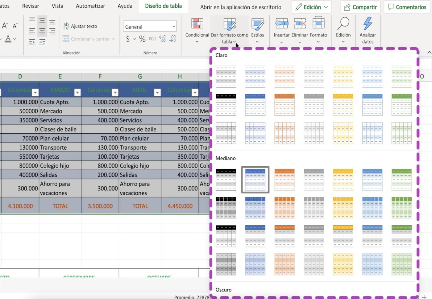 Elige un formato para las tablas en Excel 365
