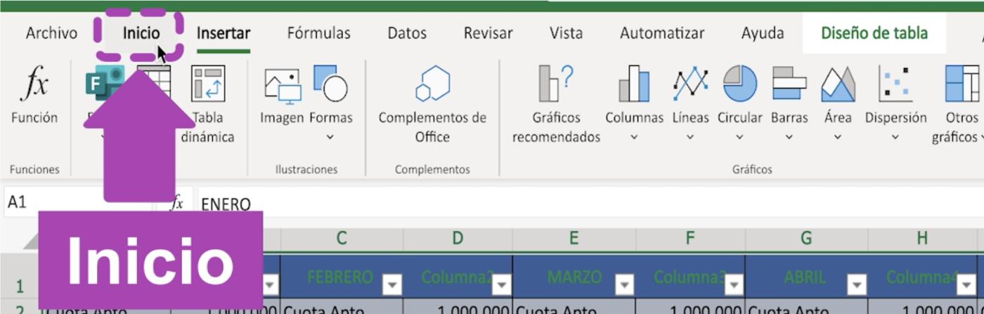 Formato de tablas en Excel 365