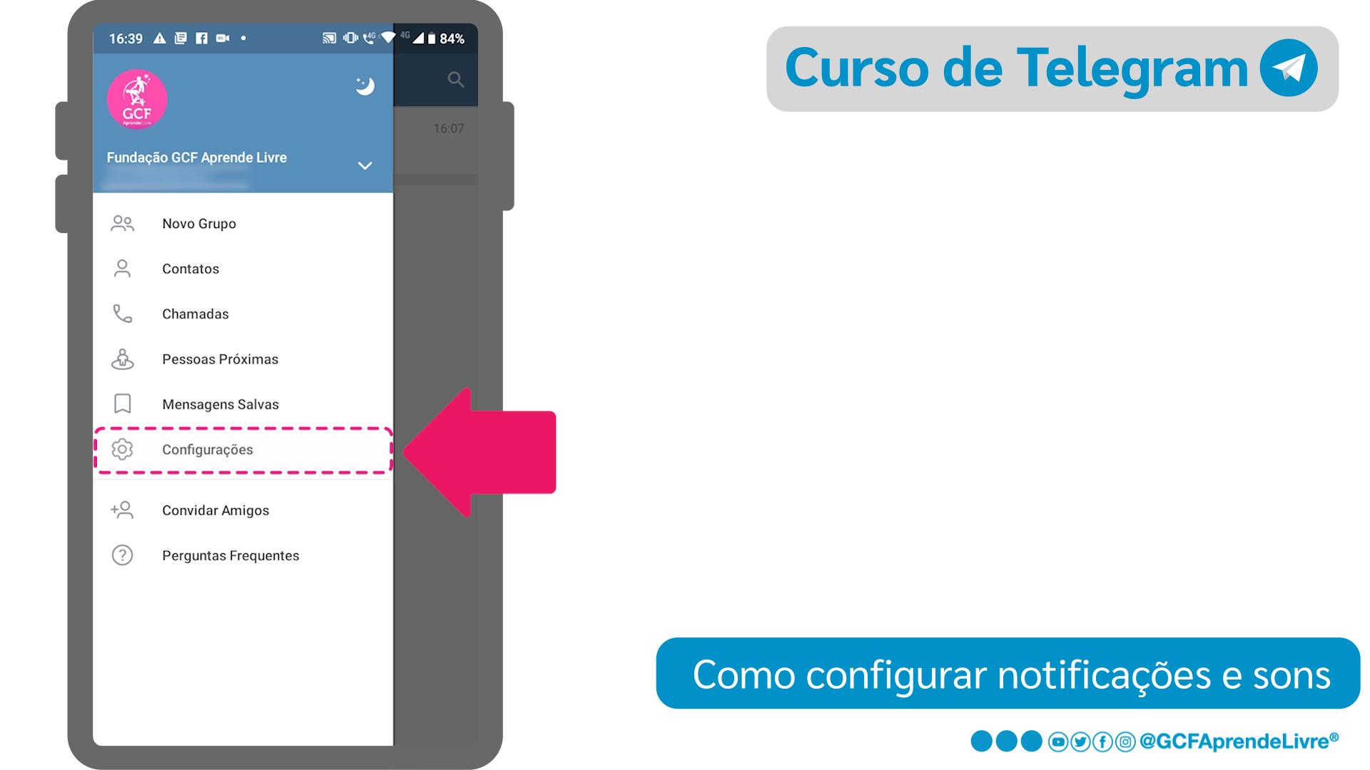 Como configurar notificações e sons do Telegram: passo 2