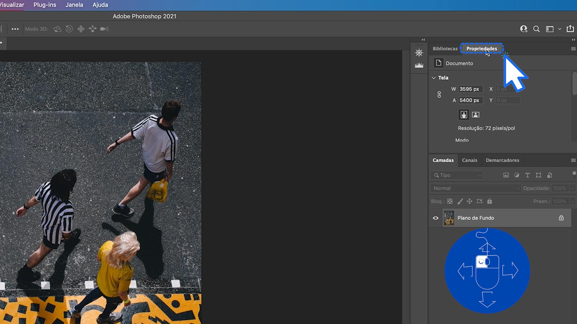 Como mover uma janela do Photoshop