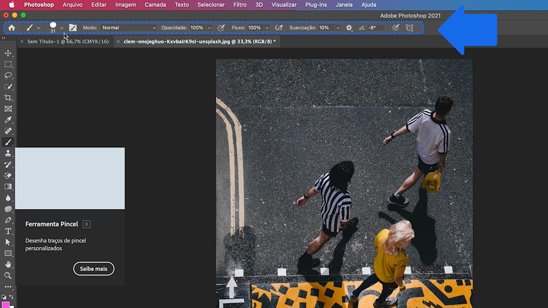 Como habilitar a barra de opções do Photoshop