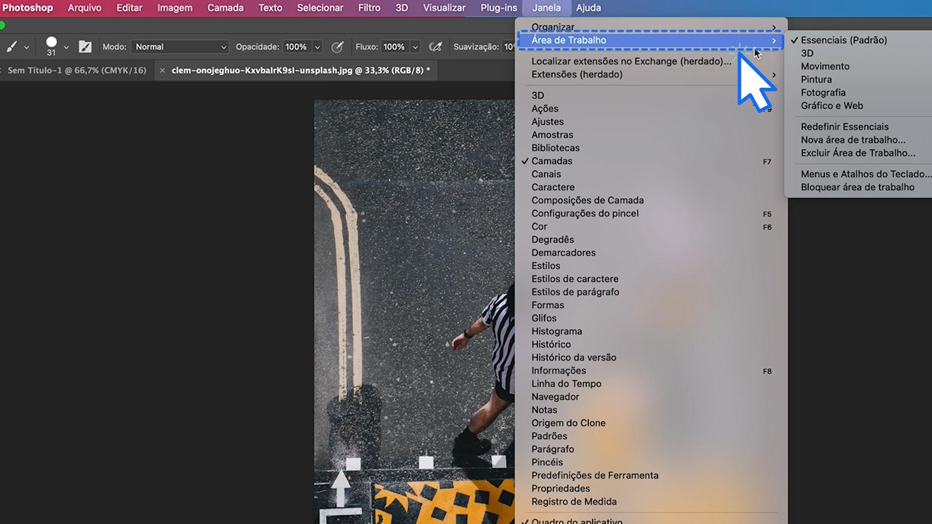 Como personalizar a área de trabalho do Photoshop 7