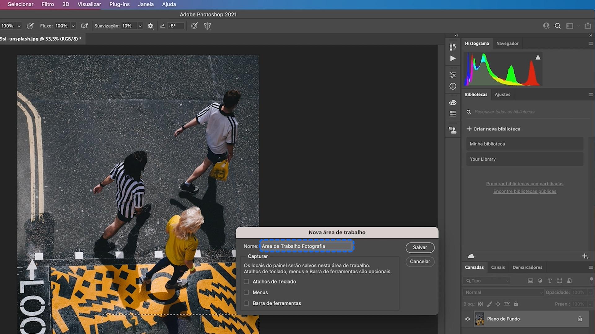 Como criar uma nova área de trabalho do Photoshop 2