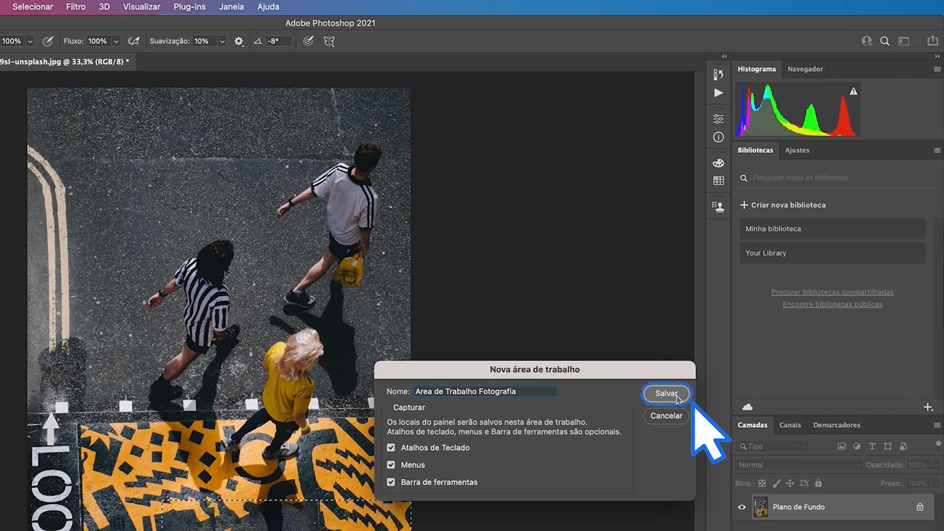 Como criar uma nova área de trabalho do Photoshop 3