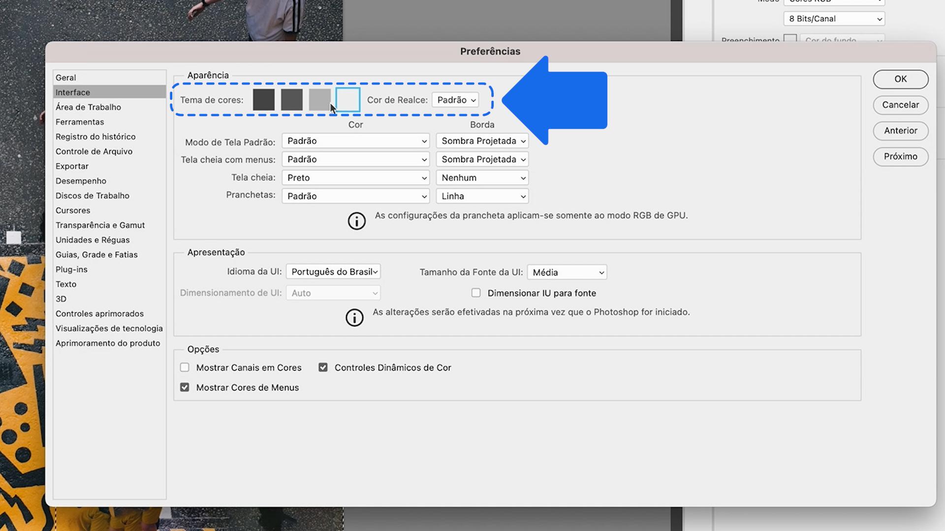 Como personalizar a área de trabalho do Photoshop 4
