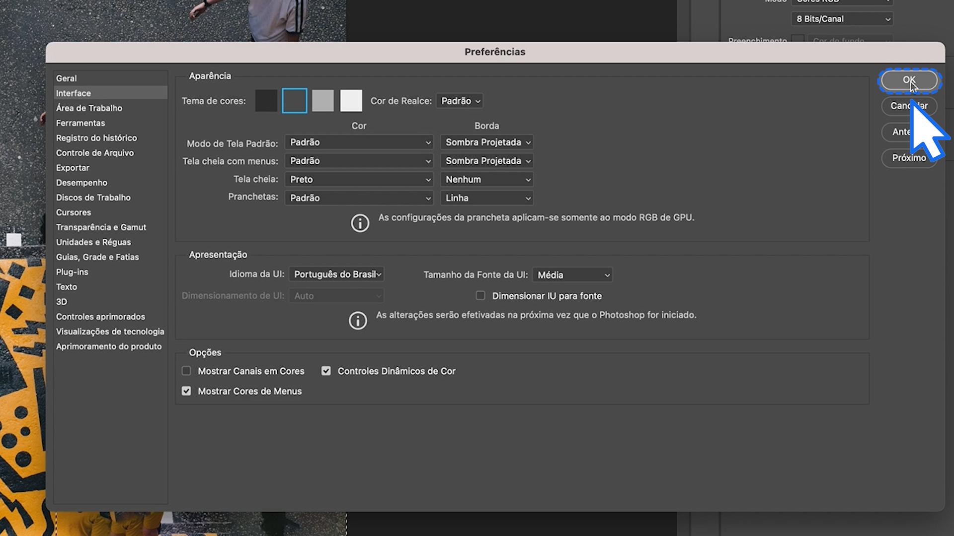 Como personalizar a área de trabalho do Photoshop 5