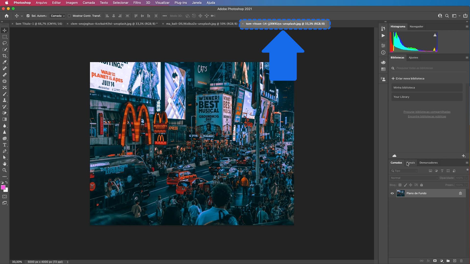 Como abrir várias imagens no Photoshop 2