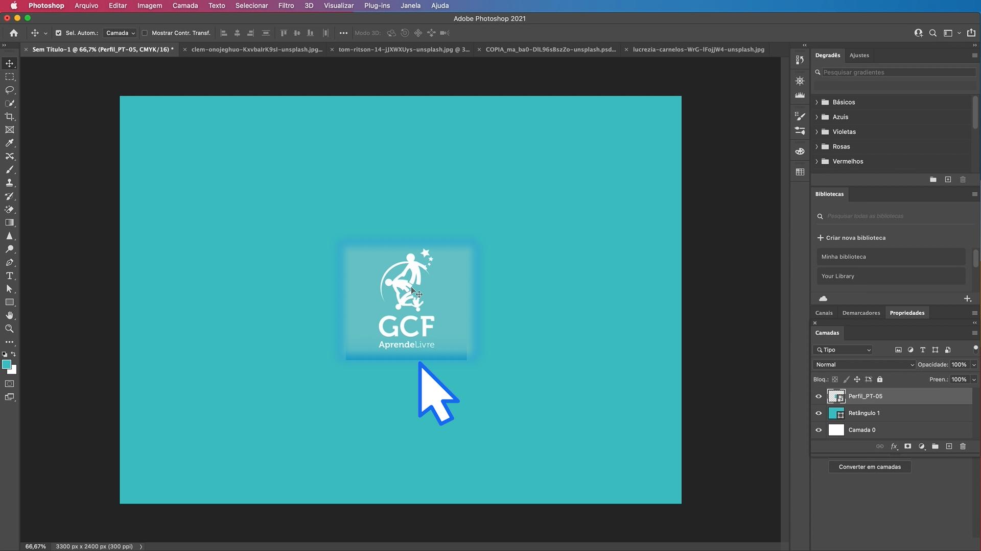 Como copiar elementos com a ferramenta mover do Photoshop - parte 2