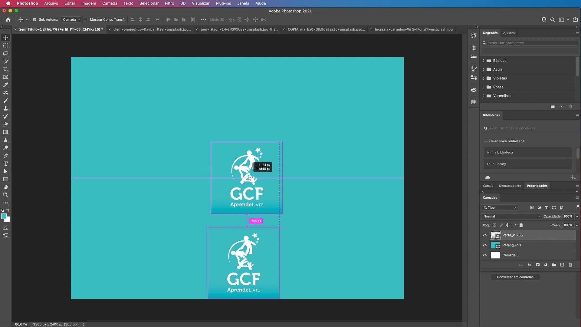 Como copiar elementos com a ferramenta mover do Photoshop - parte 5