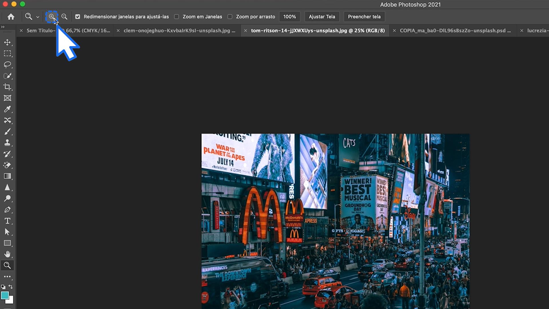 Como aumentar o zoom no Photoshop